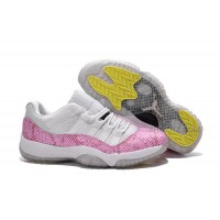 Girls Air Jordan 11 Low White Pink Snakeskin
