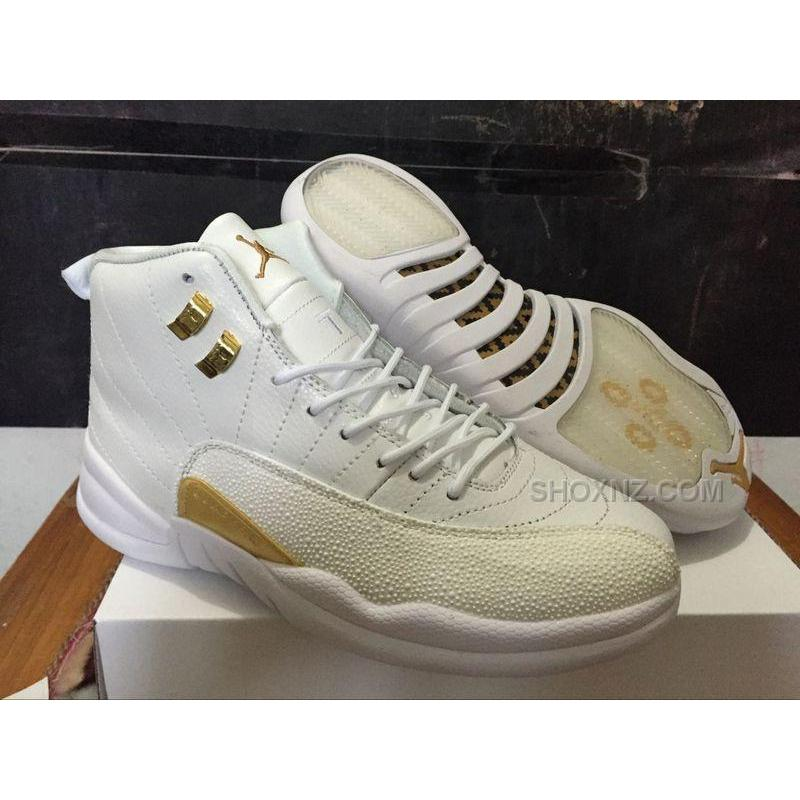 "premium selection b34f3 58726 ... Air Jordan 12 ""OVO"" PEs White Metallic Gold-White For Sale ..."
