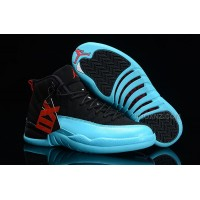 Womens Nike Air Jordan 12 GS Black/Gamma Blue-Gym Red-White