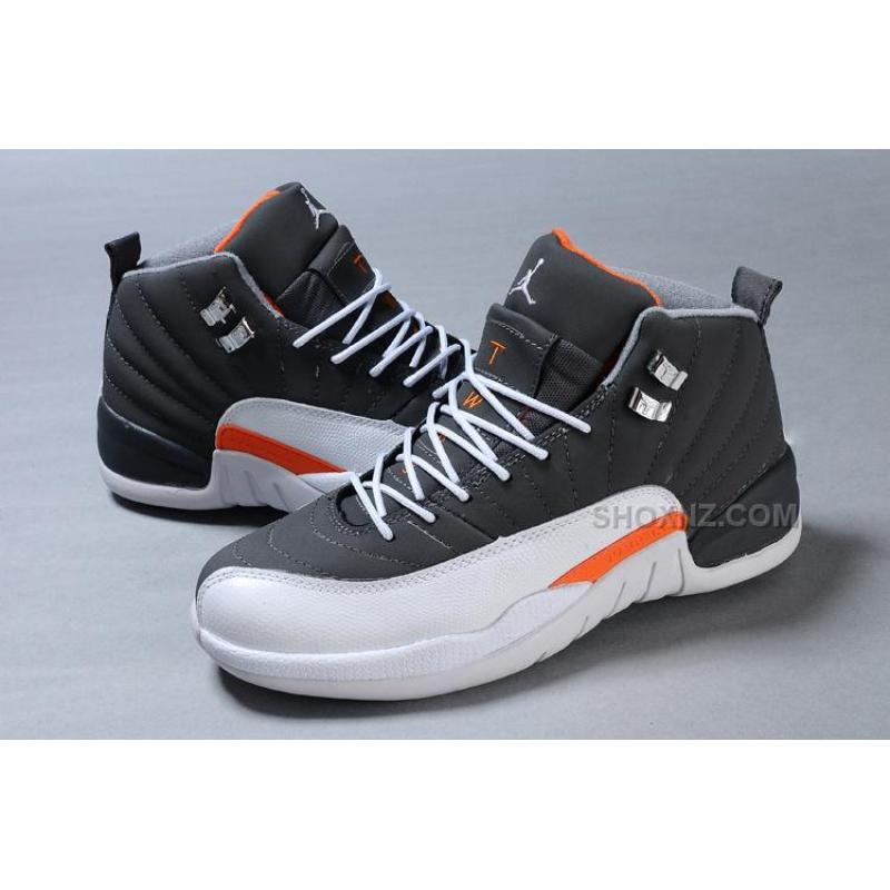 ... Cheap Air Jordan 12 Retro Cool Grey/White-Team Orange For Sale ...