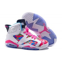 "Womens Air Jordan 6 GS ""Floral"" Custom White/Pink For Sale In Girls Size"