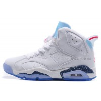 "Air Jordan 6 (VI) Retro ""First Championship"" White Leather/Icy Blue-Dark Blue Speckled-Red For Sale"