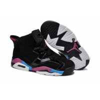 Online Nike Air Jordan 6 Kids Black Pink Blue