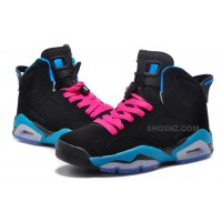 "Girls Air Jordan 6 Retro ""South Beach"" Black/Dynamic Blue-White-Vivid Pink"