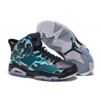 "Girls Air Jordan 6 Retro ""Camo"" Black Teal For Sale Online"