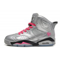 "Girls Air Jordan 6  Retro GS ""Valentine's Day"" Metallic Silver/Vivid Pink-Black Sale"