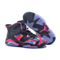 "Womens Air Jordan 6 GS ""Floral"" Custom Black/Pink For Sale In Girls Size"