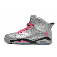 "Air Jordan 6 Retro Mens ""Valentines Day"" Metallic Silver/Vivid Pink-Black Sale"