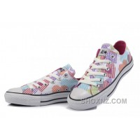 CONVERSE Women Hearts Colorful Print White Canvas Sneakers Ppdhc