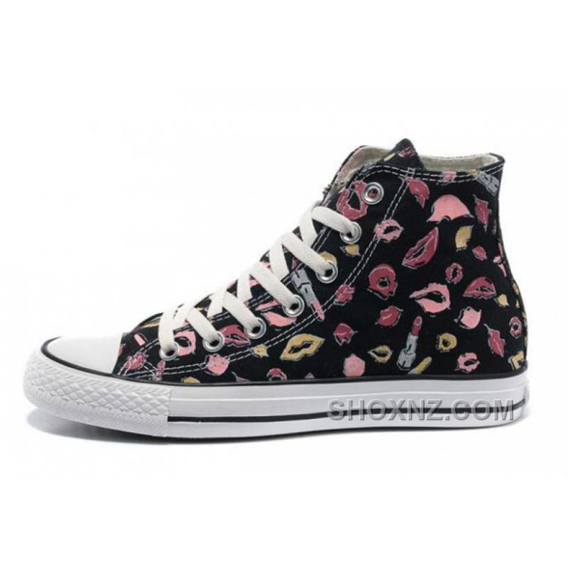 New Chuck Taylor All Star Coco Black CONVERSE Womens Lipstick Lips Print Canvas H6AsF