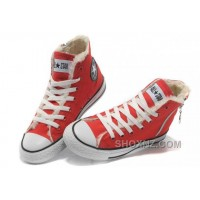 Red CONVERSE Winter Chuck Taylor All Star Soft Nap Shearling Inside Zipper Canvas Sneakers 7myAc