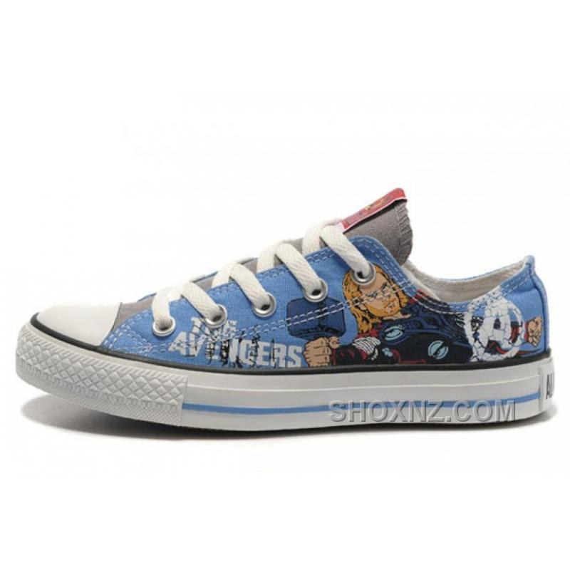 Thor CONVERSE Shoes Marvel Comics The Avengers Blue Canvas Kn4G3