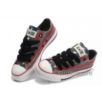 All Star CONVERSE American Flag Painted Grey Red Stripes Canvas Shoes S6nhj