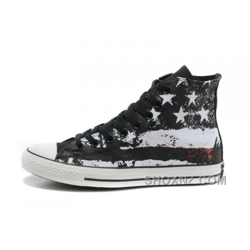 Cool CONVERSE American Flag Black Red White Graffiti Print Chuck Taylor All Star Canvas Sneakers AfPb7