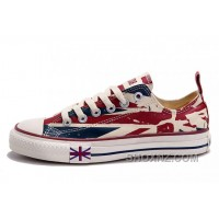 Blue CONVERSE British Flag Print All Star Beige Red Canvas London Shoes Xx53h