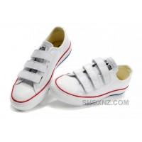 White CONVERSE All Star Chuck Taylor 3 Strap Velcro Leather Sneaker Y7iB3