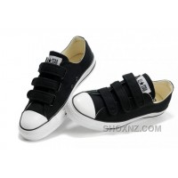 Velcro CONVERSE All Star Black 3 Strap Canvas Shoes NFGz3