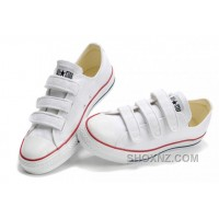Classic CONVERSE 3 Strap All Star Velcro White Canvas Shoes FeRZj
