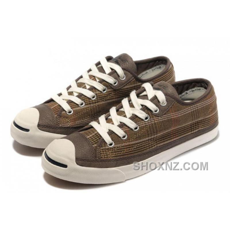 CONVERSE Plaid Jack Purcell Maroon Canvas Brown Leather K67Np