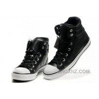 New Embroidery Black Leather CONVERSE Padded Collar Chuck Taylor All Star Winter Boots BjC8B
