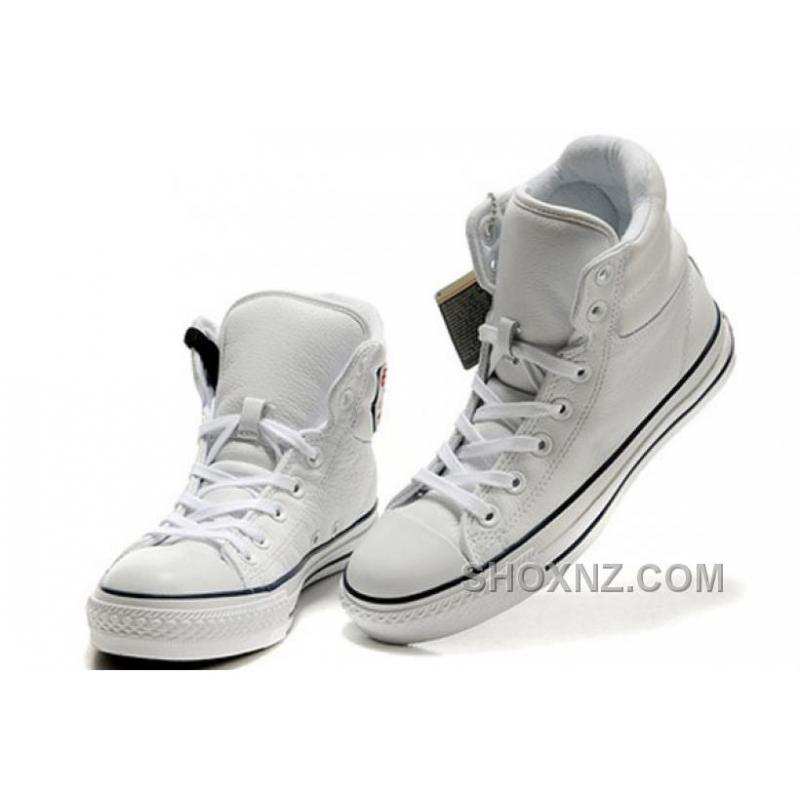 White Embroidery CONVERSE Padded Collar Chuck Taylor All Star Leather Winter Boots BN2p4