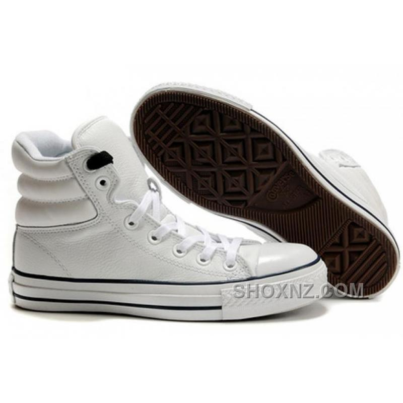 ebf95a4ad2b57c ... White Embroidery CONVERSE Padded Collar Chuck Taylor All Star Leather  Winter Boots BN2p4 ...