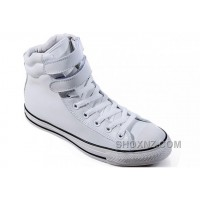 White Embroidery CONVERSE Padded Collar Chuck Taylor All Star Double Buckles Velcro Leather Winter Boots RRCNm