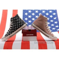 Jointly CONVERSE American Flag Stars And Stripes Black Red Chuck Taylor All Star High Tops Canvas Sneakers 4K7R5