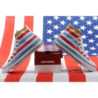 Jointly American Flag CONVERSE Chuck Taylor All Star Multi Colored Stripes High Tops Sneakers TB8Qr