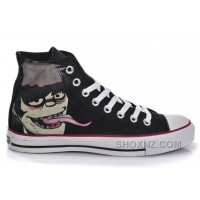 Black CONVERSE X Gorillaz Graffiti Print Chuck Taylor All Star High Tops Canvas Shoes DZMst