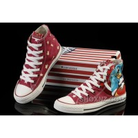 Captain America CONVERSE Red High Tops Canvas Shoes S6ChA