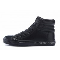 All Black All Star CONVERSE Embroidery Leather Padded Collar Winter MQR68