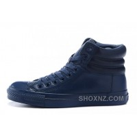 Monochrome Blue High CONVERSE Embroidery Leather Padded Collar Winter XHH2b