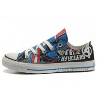 CONVERSE Captain America The Avengers Edition Printed Blue Black Tops Canvas Shoes 5JnCQ