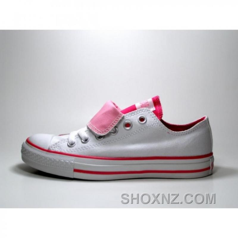 Converse All Star Double Tongue White Pink Shoes RrtbW