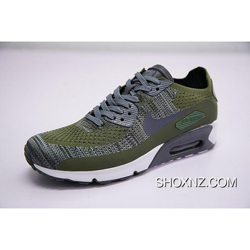 check out 9ed47 8d465 Best New Year Sale High Quality Men Shoes Nike Air Max 90 Ultra 2.0 Flyknit  Woven All-match Retro Zoom Jogging Shoes He Was Green Grey 875943-300