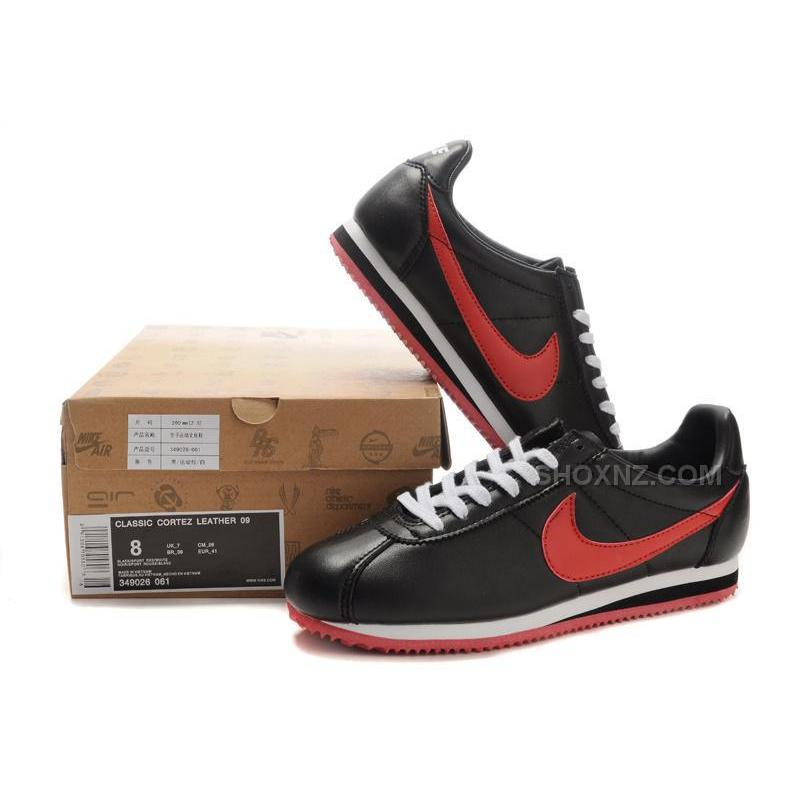 ... nike cortez women leather shoes black red