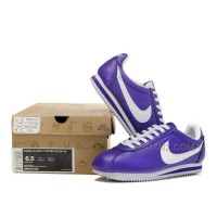 Nike Cortez Women Leather Shoes Purple White