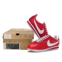 Nike Cortez Women Leather Shoes Red White