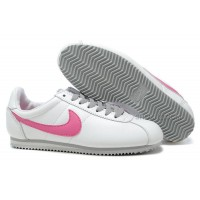 Nike Cortez Women Leather Shoes White Pink