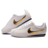 Nike Cortez Men Leather Shoes White Gold