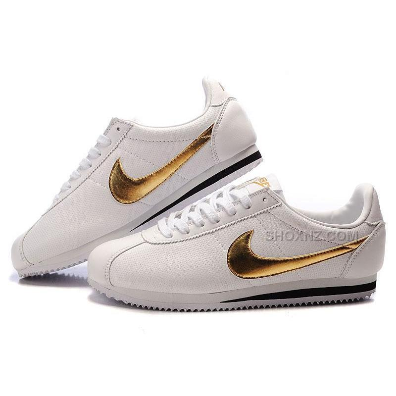 finest selection 0c10a c4ad4 Nike Cortez Men Leather Shoes White Gold