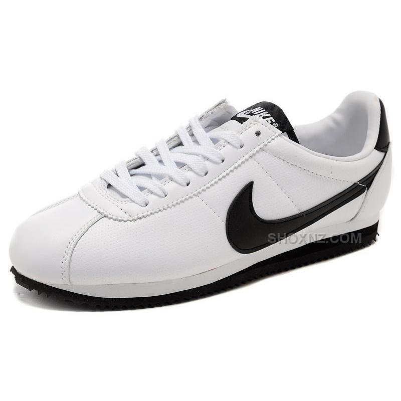 nike cortez leather shoes white black price 79 00