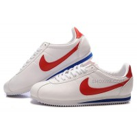 Nike Cortez Men Leather Shoes White Red