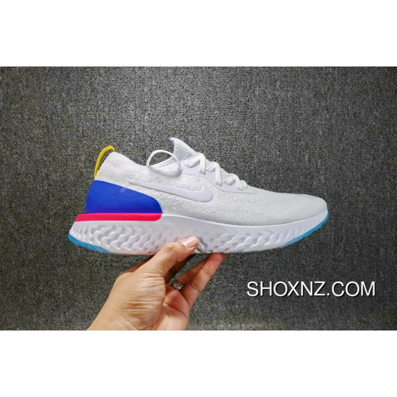 Nike Epic React Flyknit Rhea Technology Ultra Running Shoes 1 1 The Foamposite Woven Navy Blue Light Casual Running Shoes AQ0067400 Women Shoes And Men Shoes Copuon