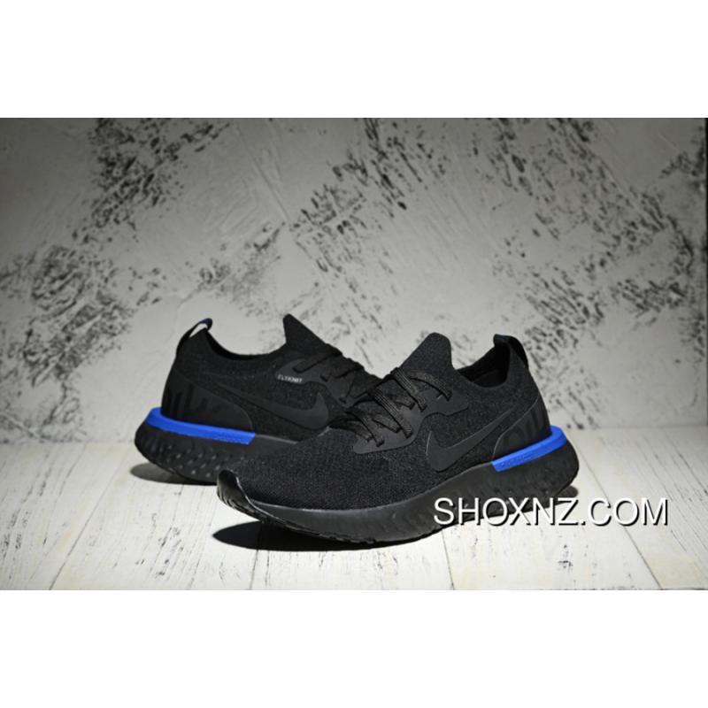 42191468dd691 ... Nike Epic React Flyknit Running Shoes React Black Blue Black New Year  Deals ...