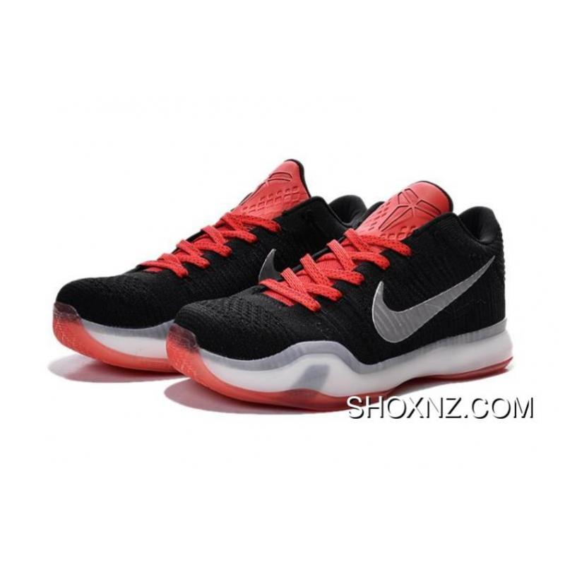 Mens Nike Kobe 10 Elite Low BlackWhiteRed Outlet