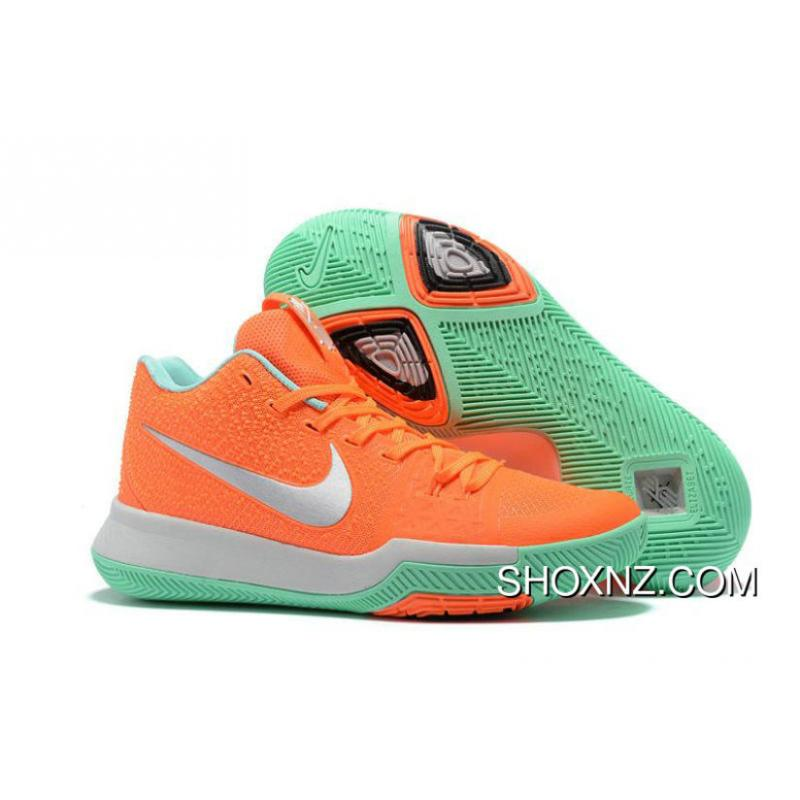 a7995c068a8468 100% Authentic Nike Kyrie 3 Orange Silver Green New Release