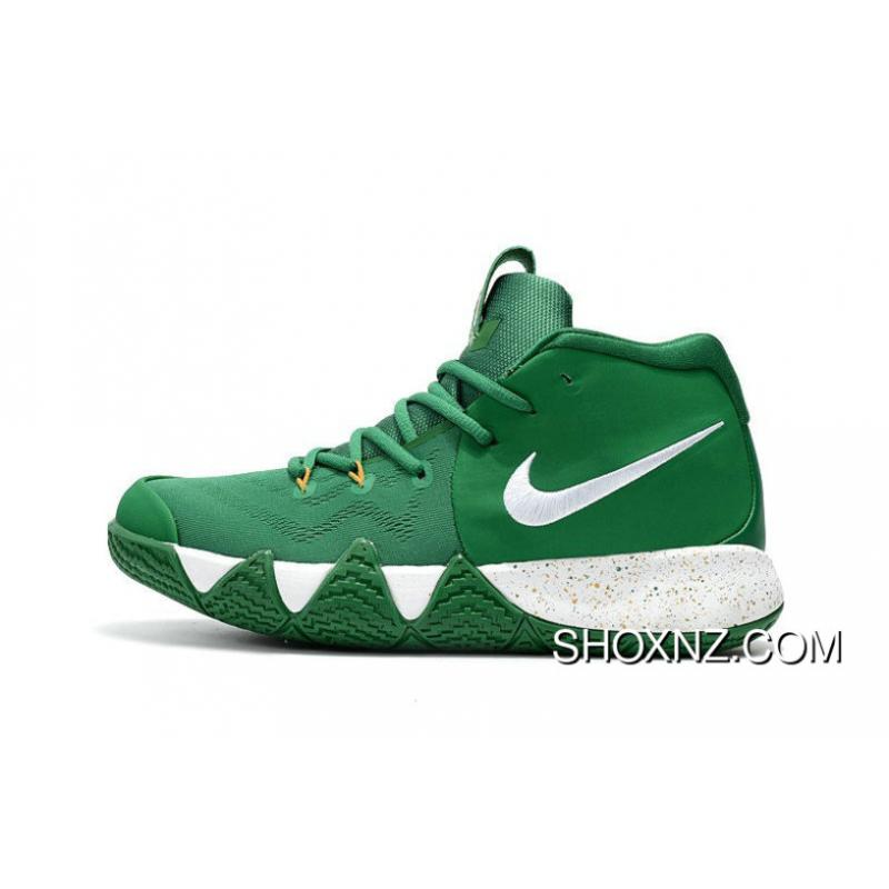 timeless design 53f81 a53cc Nike Kyrie 4 Celtics Pe Green White Gold Basketball Shoes Discount