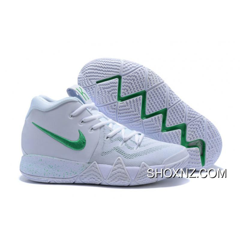 factory authentic f766d 9219c Nike Kyrie 4 White Green Kyrie Irving Iv Basketball Shoes Top Deals